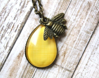 Honey Bee Necklace, Teardrop Necklace, Bee Jewelry, Bee Accessory, Bumble Bee Necklace, Gift for Her,