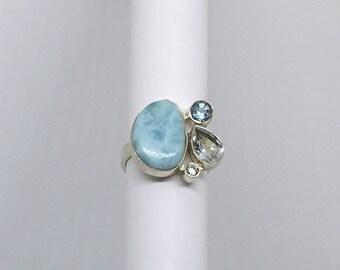 Larimar and Blue Topaz Ring