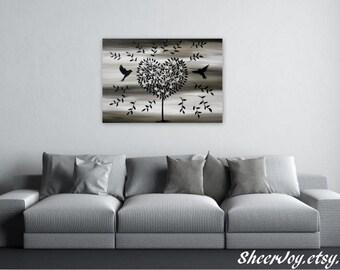 "tree painting, tree wall art, tree on a canvas, painting for wall, brown art, brown painting, chic, wall art, canvas wall art, 36"" x 24"""