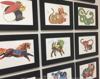Dragon, Rabbit, Snake, Goat, Dog, Horse, Tiger, Pig, Monkey Print, Kids Room Art, Animals