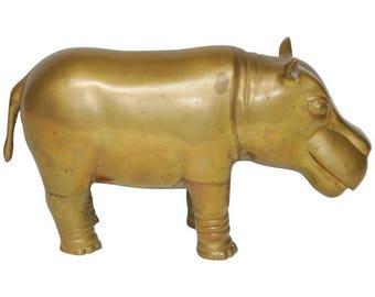 Mid-Century Brass Hippopotamus