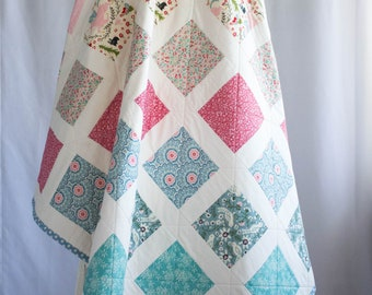 Baby Quilt Handmade, Patchwork Baby Girl Quilt with Unicorn, Raspberry, Blue-Green, and Floral Patchwork, Crib Size or Toddler Size Quilt