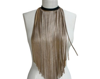 Leather Fringe Necklace, Evening Bib Necklace, Long fringe, Party, Bronze metallic leather, Black & Gold, Statement necklace, Hipster Choker