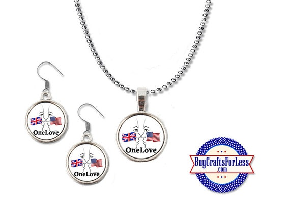 USA - UK Pendant and Earrings- Face to Face - One Love - London - Manchester *FRee SHiPPiNG + Discounts & FREE Shipping**