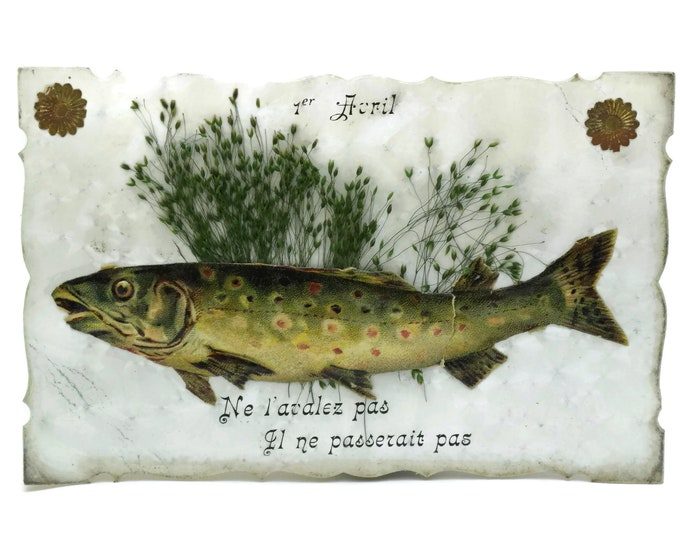 Antique Poisson d'Avril Postcard. French April Fool's Post Card with Victorian Cut Out Fish Illustration.