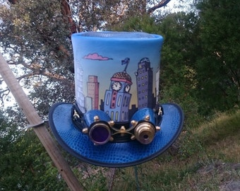 Custom printed Australian hand crafted leather Steampunk Top Hat with vintage style Aviator Goggles