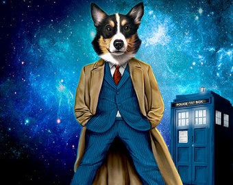 Dr. Who Pet Portrait - Dr. Who Gift For Pet Lover -Your pet as Dr. who character portrait, pet art portrait cat dog Pet lover gift