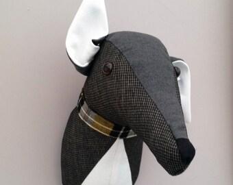 Dog, trophy head, faux taxidermy.