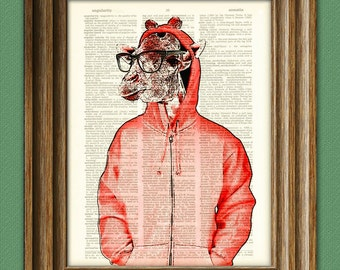 Saul the Hipster Giraffe with glasses and a hoodie in red illustration beautifully upcycled dictionary page book art print