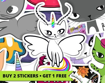Cat with Wings, Stickers, Cats, Unicorn, Pegasus, Antelope, Horns, Antlers, Caticornelopasus, Mythical Creature, Magical, Striped, Cute, Fun