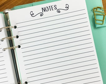 A6 Notes printed planner refill insert - lined paper - note taking - journal