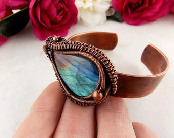 labradorite cuff bracelet-wire wrap-copper bracelet-wire weave jewelry-handmade jewelry-artisan jewelry-Melissa Wood Jewelry-boho jewelry