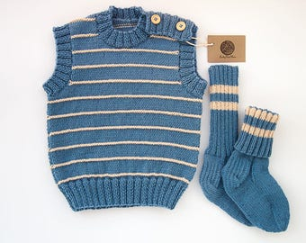 SALE 40% OFF/ Ready to ship/ Hand knitted baby set (vest and socks)/Blue color/ Size 18-24 months