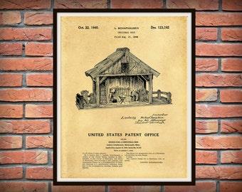 Patent 1940 Christmas Crib Nativity Scene Patent - Christmas Creche - Art Print - Holiday Wall Art - Nativity Manger - Jesus Joseph and Mary