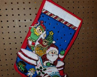 Finished handmade Christmas stockings with Santa & his elf delivering toys in a plane - fsk30