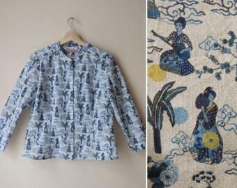 Japanese Geisha Shirt, Cotton Blue Cute Print Shirt, Button Down Shirt, Elbow Sleeves Blouse Custom Made Shirt