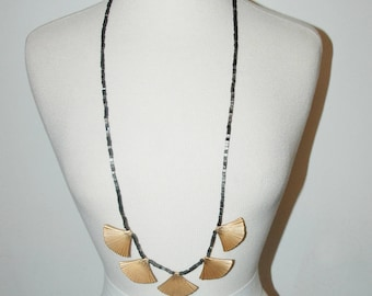 VINTAGE Art Deco Stones and Brass Long Necklace / 1920's Flapper / Statement Necklace