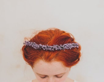 Rustic lavender flower crown, lilac flower crown, lavender wreath, purple bridal, lilac headband, rustic flower crown, lavender headband