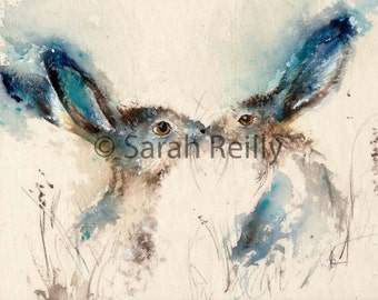 Tickly Kisses - Gorgeous Hare Print of original painting, charming and heartwarming, watercolour print, poster