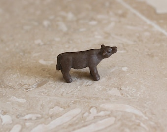 Mini animal - miniature plastic cow - tiny plastic cow - tiny brown cow - calf - miniature farm animal - tiny farm animal