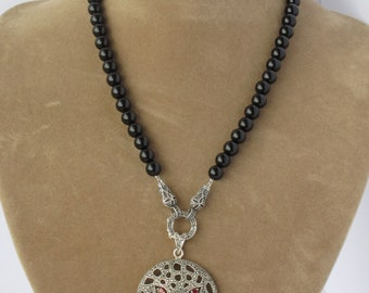 Sterling Silver Marcasite necklace with Onyx beads