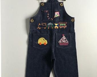 Vintage Baby Boy's 70's Patchwork Denim Overalls, Dark Wash (12 mos)
