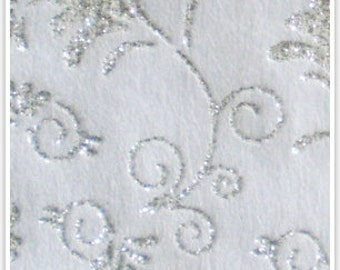 Non woven recycled paper white with silver floral print