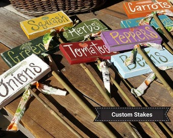 garden markers,wooden garden stakes,vegetable signs,Handpainted small stake sign,gardeners gift,garden labels,mothers day gift,custom signs