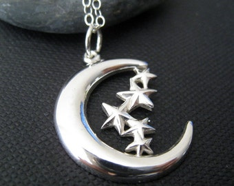 Moon and stars necklace, luna necklace, crescent moon and star, celestial jewelry, sterling silver pendant, love you to the moon and back
