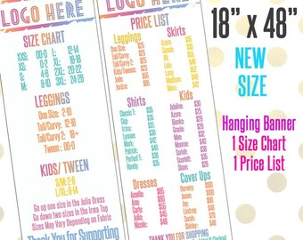 "18"" x 48"" LLR Printed Banner, Price & Size Chart Add Logo +  Name, LLR Pop-Up Boutique, LLR Custom Price and Size Chart Banner Size Chart"