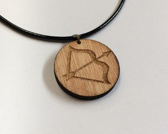 Carved Bow and Arrow Necklace archery archer Mens Womens Pendant