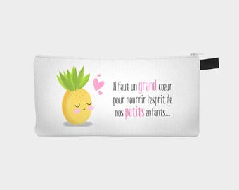 "Chest pencil / makeup case ""Miss pineapple"" (version gift for teacher)"