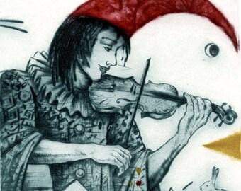 Violinist, intaglio print, dry point, engraving, original art, art print, music