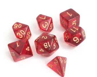 Red Clear Dice set - Dungeons and Dragons dice set - Polyhedral dice set - Pathfinder Dice Set