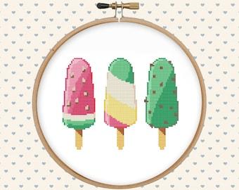 Ice cream cross stitch pattern pdf - summer cross stitch - modern cross stitch - instant digital download - kitchen cross stitch pattern