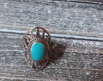 Genuine turquoise sterling silver southwestern style ring size 5.5