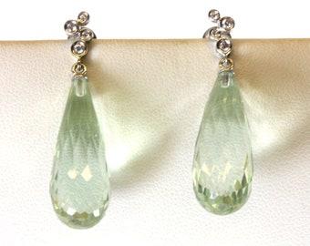 18k Gold Diamond and Green Amethyst Briolette Drop Earrings