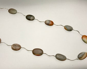 Sterling and Imperial Jasper Squiggle Necklace