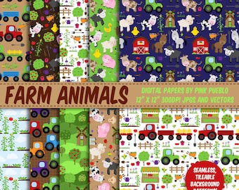 Farm Animal Digital Paper, Farm Animal Scrapbook Paper - Commercial and Personal Use