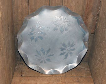 Vintage Aluminum Tray with Ponsettias - 1405