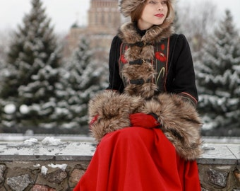 """Short Fur Coat """"Russian Seasons"""" with Hat and Muff; kaftan coat; russian folk costume; short winter coat"""