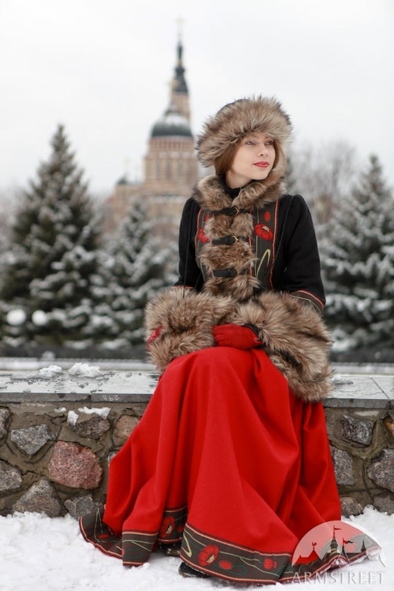 Short Fur Coat Russian Seasons with Hat and Muff