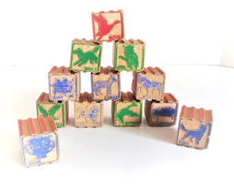 Vintage Wood Blocks - Building Blocks - Wood Toy - Alphabet Blocks - Wooden Blocks