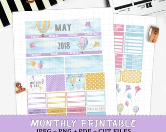 May 2018 monthly printable planner stickers for Erin Condren LifePlannerTM clouds silhouette cut files stickers blue sky hot air balloons