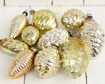 Set of 10 Soviet Golden Christmas toys Christmas Tree Toys Glass ornaments Antique ornament Golden glass toy Christmas gift Russian Toy