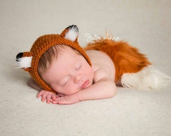 Newborn Fox Bonnet - Fox Hat - Newborn Prop - Newborn Fox Prop - Baby Fox Hat - Baby Photo Props - Photography Props - Woodland Theme Prop