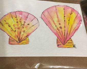 4x6 watercolor shell painting