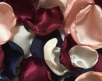 Blush pink, marsala maroon, ivory, & navy blue flower petals, rose petals, table decor, flower girl petals, wedding decor