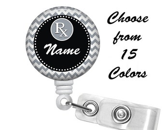 Pharmacy Badge Reel Personalized Name (15 Choices), ID Badge Holder, Medical Badge Reel, Nurse, Pharmasist, pills, rx belt or Alligator clip