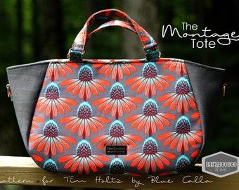 Grey large handbag or tote with sashiko stitching and Coneflower design, ladies purse, cross body bag